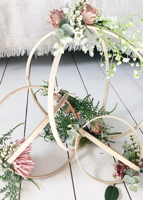 Groups of floral hoops