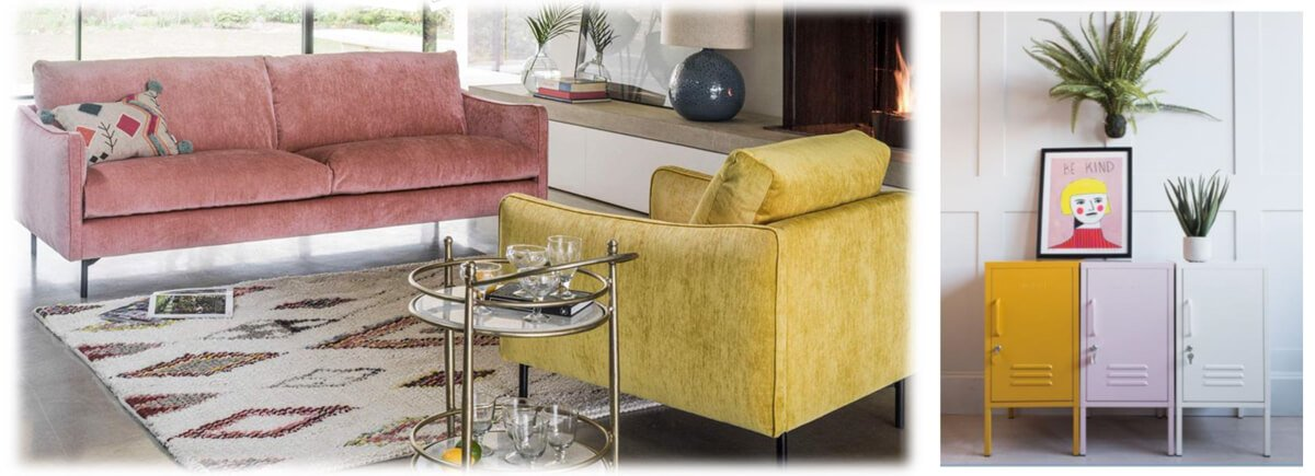 Mustard Chair and coral sofa