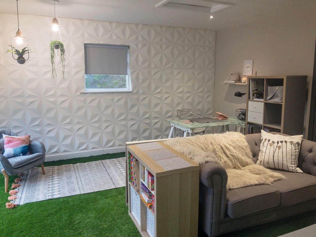 After image of the work-space, laundry and play area