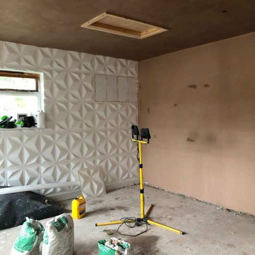 plastered walls of the work-space
