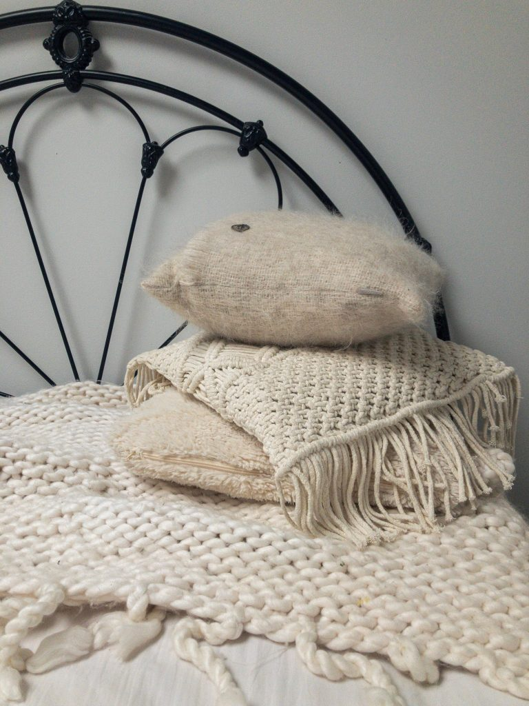 Hygge with cushions and throw