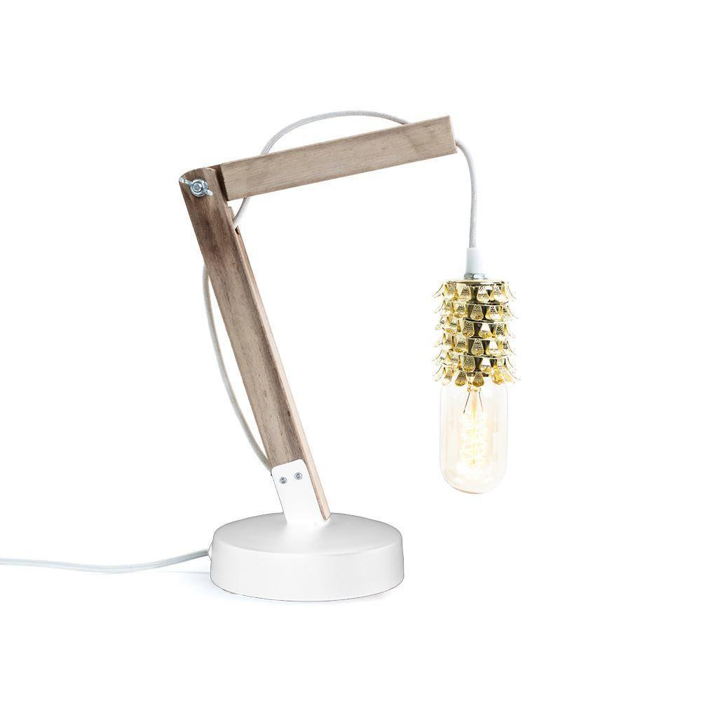 Wooden crane table lamp