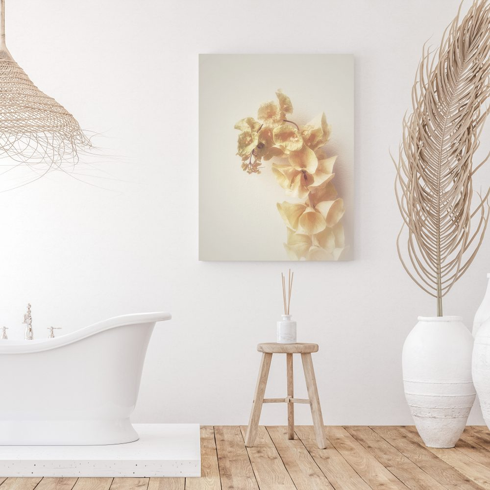 Gladioli print in bathroom