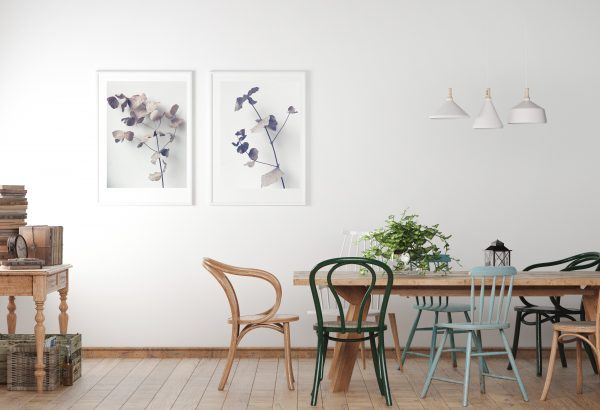 Prints above a dining table