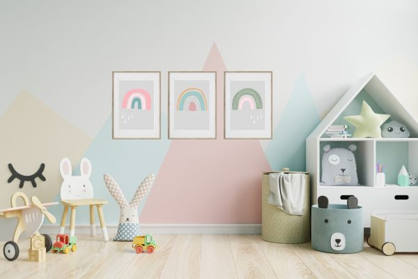 rainbow prints in room
