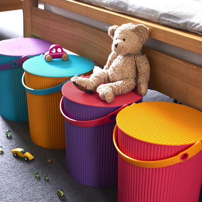 colourful storage buckets