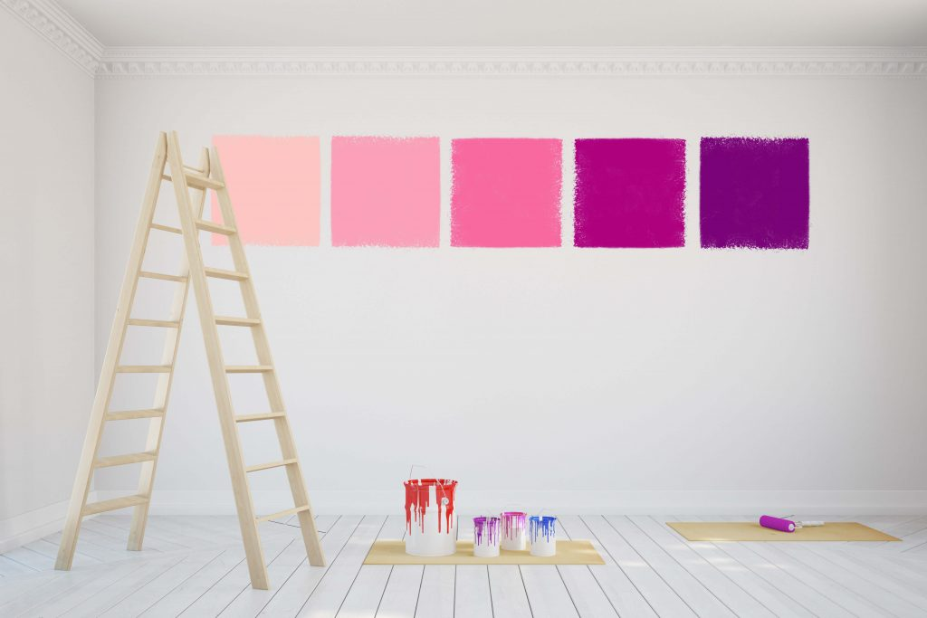 sample paint on the walls